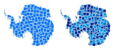 Dot Antarctica Map avec la version bleue Photos libres de droits