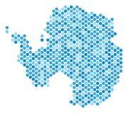 Dot Antarctica Map azul ilustração do vetor