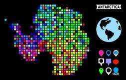 Dot Antarctica Map colorido ilustração do vetor