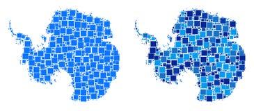 Dot Antarctica Map com versão azul ilustração royalty free