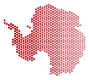 Dot Antarctica Map vermelho ilustração do vetor