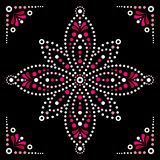 Dot art vector flower, traditional Aboriginal dot painting design, indigenous decoration from Australia. Abstract flower design with dots, circles, ethnic stock illustration