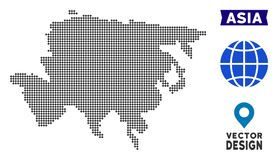 Dot Asia Map. Vector territory scheme in dark gray color. Dots have rhombic shape vector illustration