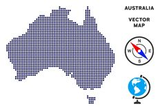 Pixelated Australia Map. Dot Australia map. Abstract geographic scheme. Pixels have rhombic shape and dark blue color. Vector mosaic of Australia map composed stock illustration