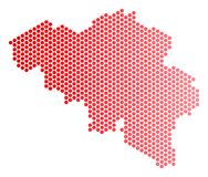 Dot Belgium Map rosso Fotografia Stock