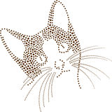 Dot Cat. Rhinestones/ outline dots of a cat head vector illustration