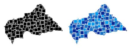 Dot Central African Republic Map con variante azul Ilustración del Vector