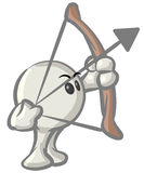 Dot Character with Bow and Arrow Stock Photos