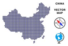 Pixelated China Map royalty free illustration