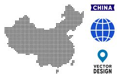 Dot China Map. Vector territorial scheme in dark gray color. Pixels have rhombic shape royalty free illustration
