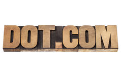Dot com concept in wood type Royalty Free Stock Image