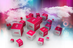 Dot com domain in cubes. In color background Stock Image