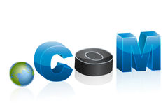 Dot com icon with globe Stock Images