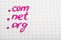 Dot COM NET ORG Domain - internet concept. Dot COM NET ORG Domain Name Address. Domain name and internet concept royalty free stock photos
