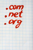 Dot COM NET ORG Domain - internet concept Stock Photo