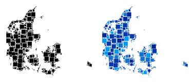 Dot Denmark Map avec la version bleue illustration de vecteur