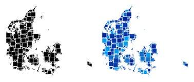 Dot Denmark Map con la versione blu illustrazione vettoriale