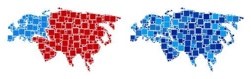 Dot Europe And Asia Map con variante azul ilustración del vector