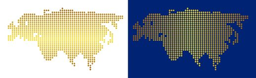 Dot Europe And Asia Map d'or Image libre de droits
