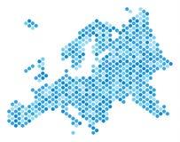 Dot Europe Map azul ilustración del vector