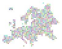 Dot Europe Map coloreado multi ilustración del vector
