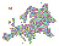 Dot Europe Map coloreado multi stock de ilustración