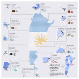 Dot And Flag Map Of Argentina Infographic Design Stock Images
