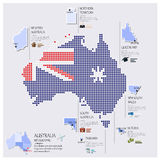 Dot And Flag Map Of Australia Infographic Design. Template Royalty Free Stock Image