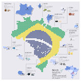 Dot And Flag Map Of Brazil Infographic Design Royalty Free Stock Images