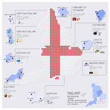 Dot And Flag Map Of England Infographic Design Royalty Free Stock Image