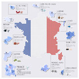 Dot And Flag Map Of France Infographic Design Royalty Free Stock Photo