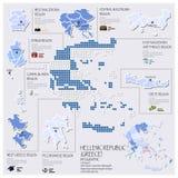 Dot And Flag Map Of Grecia la República Helénica Infographic Fotos de archivo