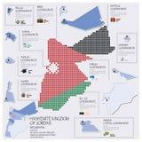 Dot And Flag Map Of Hashemite kungarike av Jordan Infographic Arkivbild