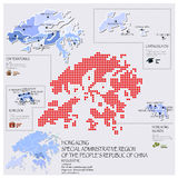 Dot And Flag Map Of Hong Kong Infographic Design Foto de archivo