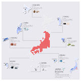 Dot And Flag Map Of Japan Infographic Design Royalty Free Stock Photos