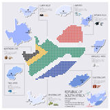Dot And Flag Map Of South Africa Infographic Design Stock Images