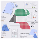 Dot And Flag Map Of State of Kuwait Infographic Stock Photography