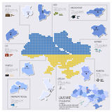 Dot And Flag Map Of Ukraine Infographic Design Royalty Free Stock Photography