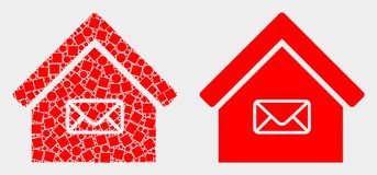 Dot and Flat Vector Post Office Icon. Dot and flat post office icons. Vector mosaic of post office organized of random square pixels and spheric pixels stock illustration