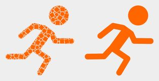 Pixelated and Flat Vector Running Boy Icon. Dot and flat running boy icons. Vector mosaic of running boy composed with random rectangle elements and spheric royalty free illustration