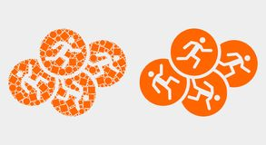 Pixelated and Flat Vector Running Persons Icon. Dot and flat running persons icons. Vector mosaic of running persons designed of irregular dots and round dots stock illustration