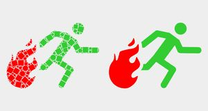 Dot and Flat Vector Person Running Away from Fire Icon. Pixel and flat person running away from fire icons. Vector mosaic of person running away from fire vector illustration