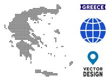 Dot Greece Map illustration stock