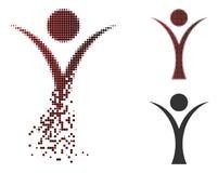 Dot Halftone Abstract Man Icon dañado ilustración del vector