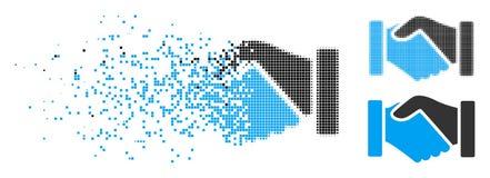 Dot Halftone Acquisition Handshake Icon fracturado ilustración del vector