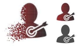 Dot Halftone Aim Person Icon Destructed Ilustración del Vector