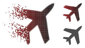 Dot Halftone Airplane Icon réduit en fragments illustration de vecteur