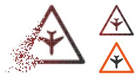 Dot Halftone Airplane Warning Icon dissous illustration stock