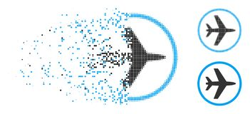 Dot Halftone Airport Icon endommagé illustration stock