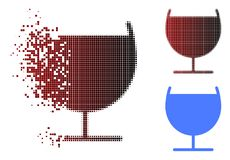 Dot Halftone Alcohol Glass Icon dañado stock de ilustración